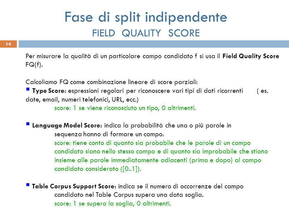 14 Per misurare la qualità di un particolare campo candidato f si usa il Field Quality Score FQ(f). Calcoliamo FQ come combinazione lineare di score p