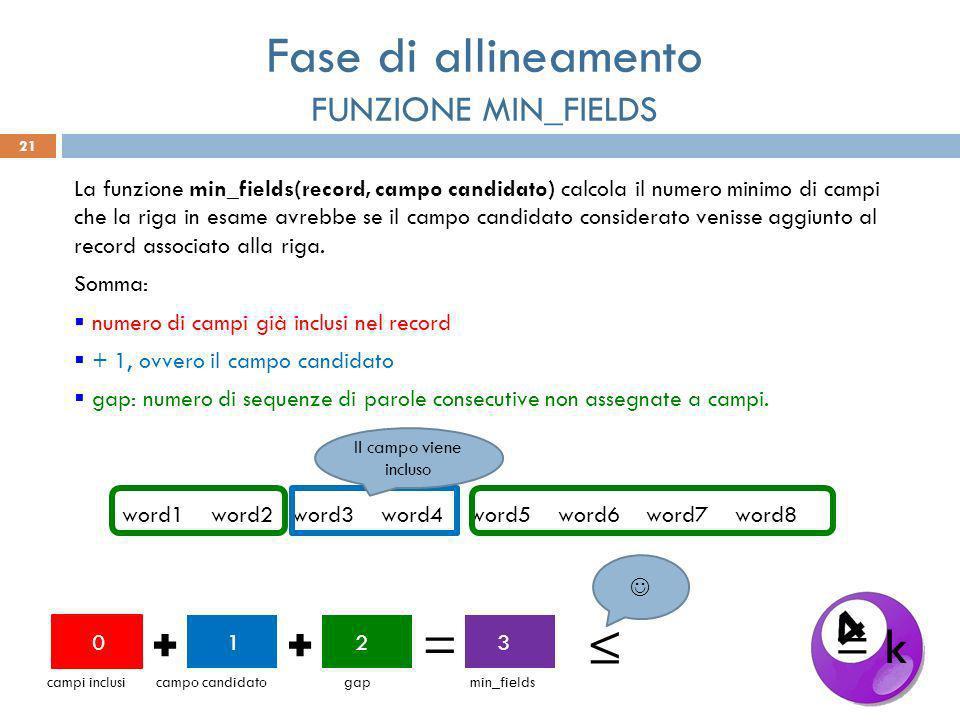 21 La funzione min_fields(record, campo candidato) calcola il numero minimo di campi che la riga in esame avrebbe se il campo candidato considerato venisse aggiunto al record associato alla riga.