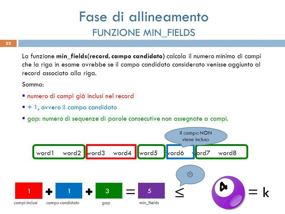 22 La funzione min_fields(record, campo candidato) calcola il numero minimo di campi che la riga in esame avrebbe se il campo candidato considerato venisse aggiunto al record associato alla riga.
