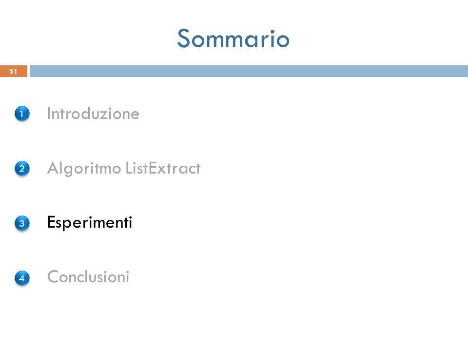 Sommario Introduzione Algoritmo ListExtract Esperimenti Conclusioni 51 1 1 2 2 3 3 4 4
