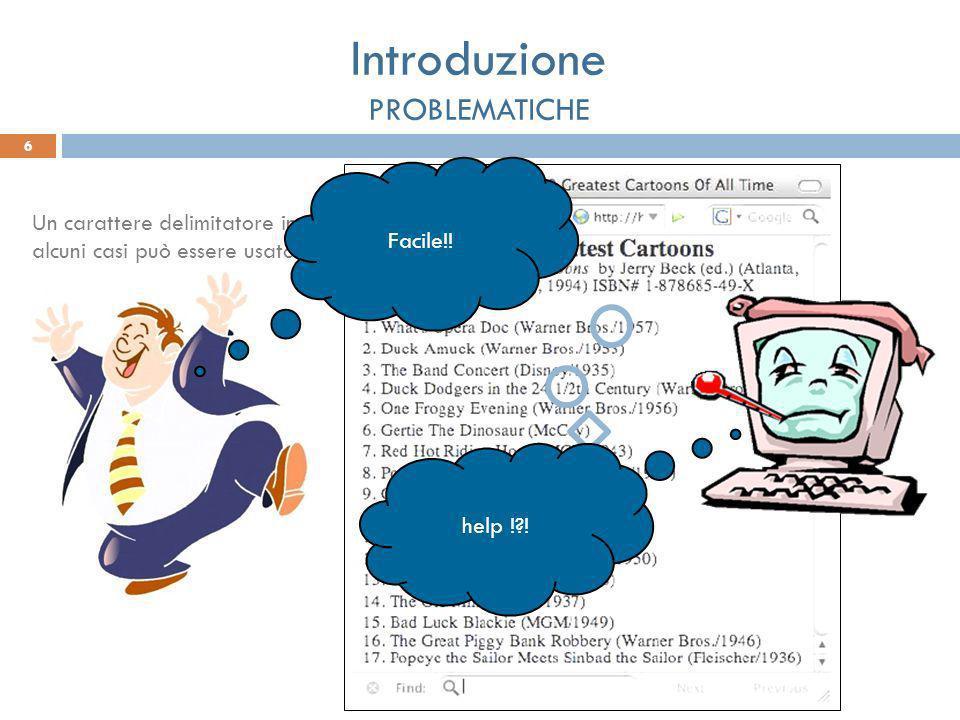 Un carattere delimitatore in alcuni casi può essere usato come delimitatore in altri come carattere facente parte del campo. Facile!! 6 Introduzione P