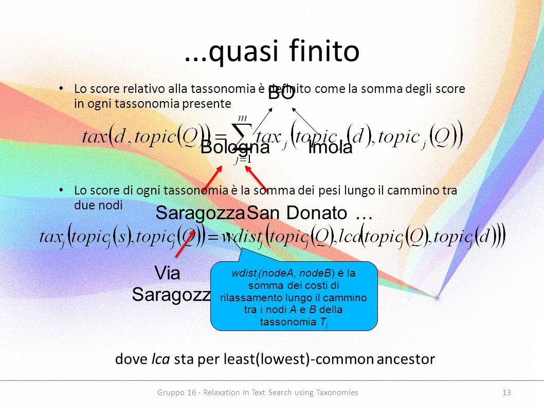 ...quasi finito dove lca sta per least(lowest)-common ancestor BO Bologna Imola SaragozzaSan Donato Via Saragozza Via Turati … … wdist j (nodeA, nodeB