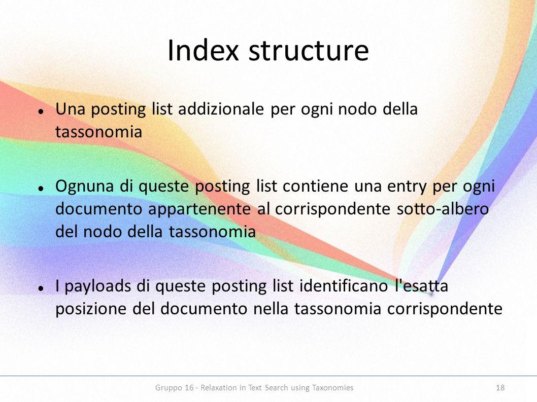 Index structure Una posting list addizionale per ogni nodo della tassonomia Ognuna di queste posting list contiene una entry per ogni documento appart