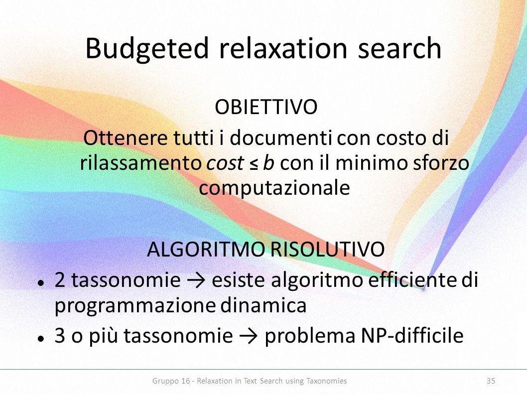 Budgeted relaxation search OBIETTIVO Ottenere tutti i documenti con costo di rilassamento cost b con il minimo sforzo computazionale ALGORITMO RISOLUT
