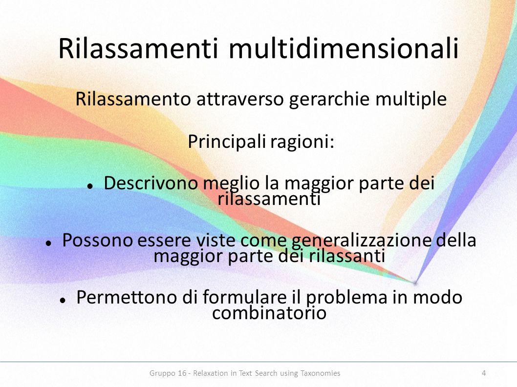 Rilassamenti multidimensionali Rilassamento attraverso gerarchie multiple Principali ragioni: Descrivono meglio la maggior parte dei rilassamenti Poss