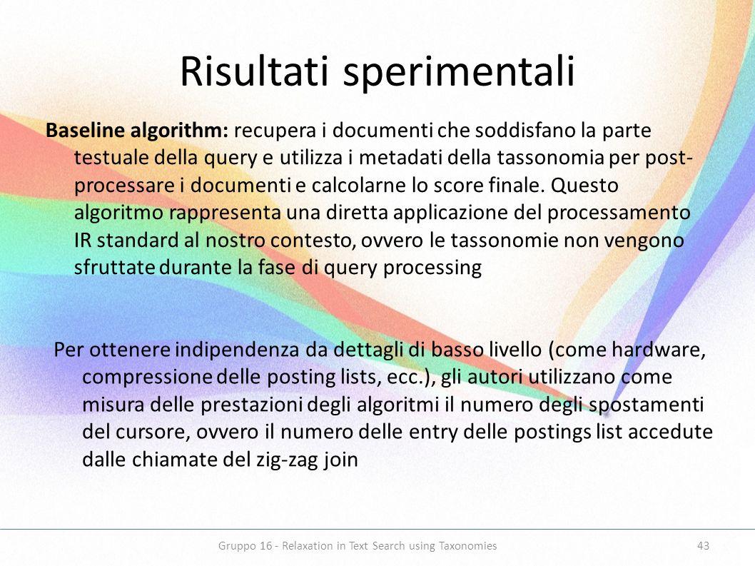 Risultati sperimentali Baseline algorithm: recupera i documenti che soddisfano la parte testuale della query e utilizza i metadati della tassonomia pe