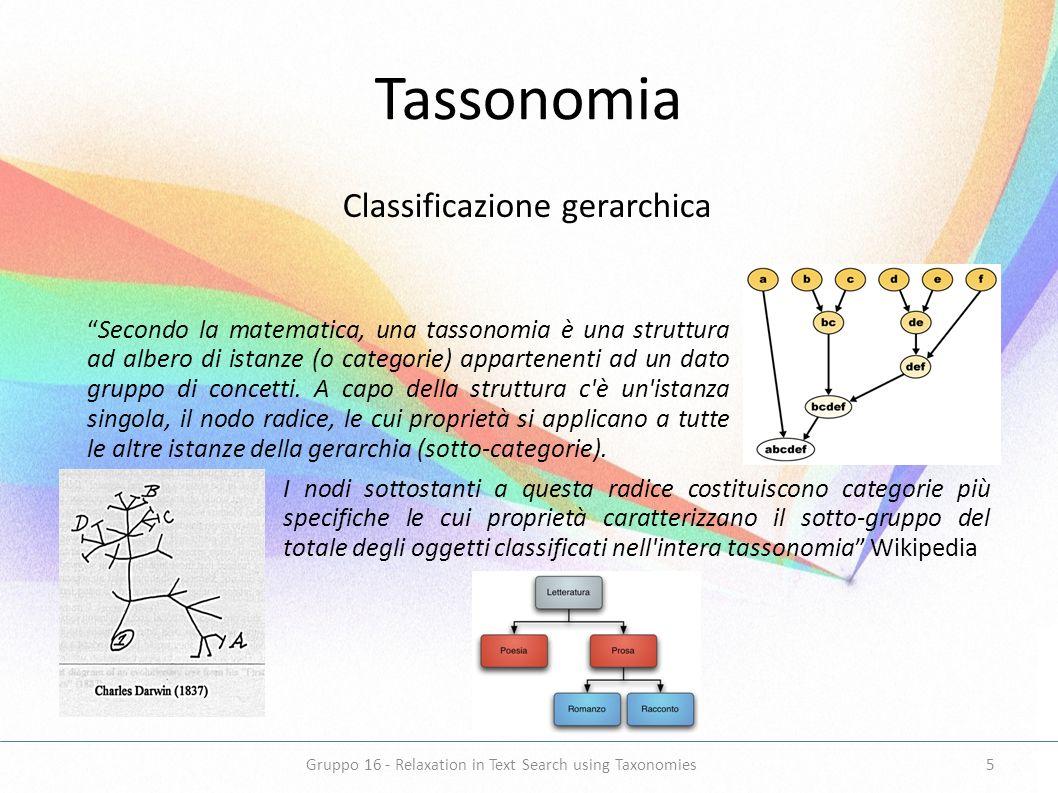 Tassonomia Classificazione gerarchica Secondo la matematica, una tassonomia è una struttura ad albero di istanze (o categorie) appartenenti ad un dato