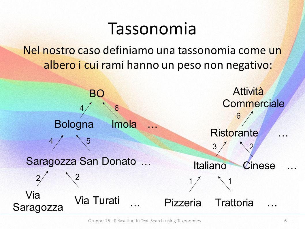 Tassonomia Nel nostro caso definiamo una tassonomia come un albero i cui rami hanno un peso non negativo: BO BolognaImola SaragozzaSan Donato Via Sara