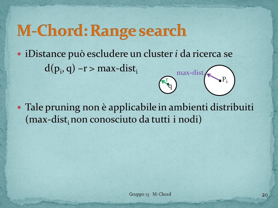 iDistance può escludere un cluster i da ricerca se d(p i, q) –r > max-dist i Tale pruning non è applicabile in ambienti distribuiti (max-dist i non co