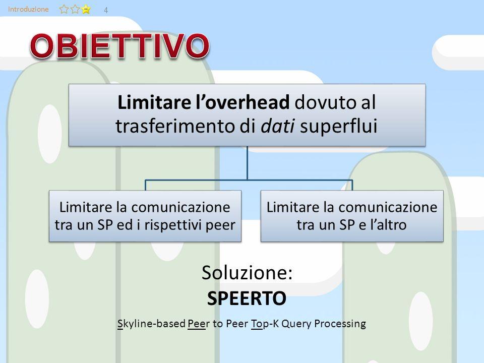 Introduzione Soluzione: SPEERTO Skyline-based Peer to Peer Top-K Query Processing Limitare loverhead dovuto al trasferimento di dati superflui Limitare la comunicazione tra un SP ed i rispettivi peer Limitare la comunicazione tra un SP e laltro 4