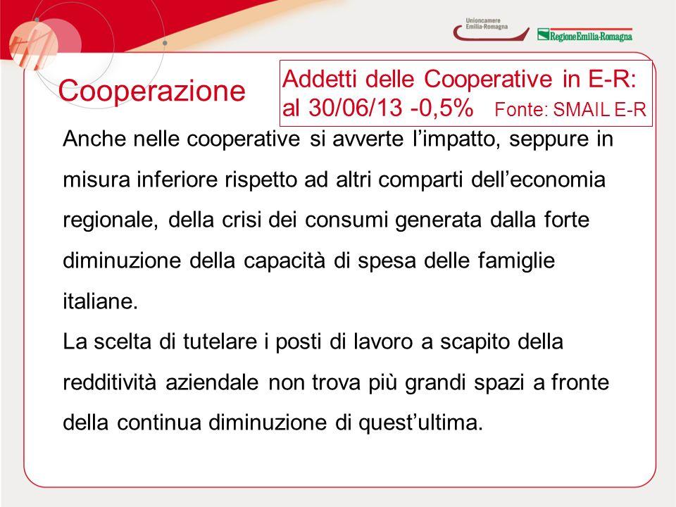 Cooperazione Anche nelle cooperative si avverte limpatto, seppure in misura inferiore rispetto ad altri comparti delleconomia regionale, della crisi dei consumi generata dalla forte diminuzione della capacità di spesa delle famiglie italiane.