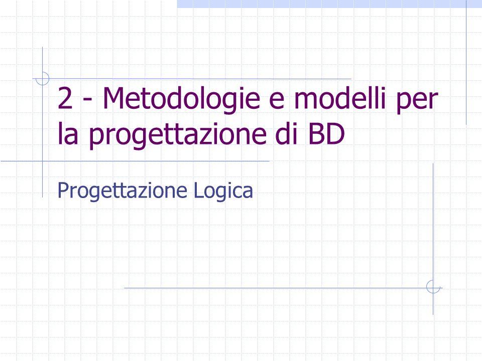 2 - Metodologie e modelli per la progettazione di BD Progettazione Logica
