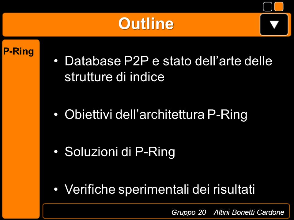 Outline Database P2P e stato dellarte delle strutture di indice Obiettivi dellarchitettura P-Ring Soluzioni di P-Ring Verifiche sperimentali dei risul