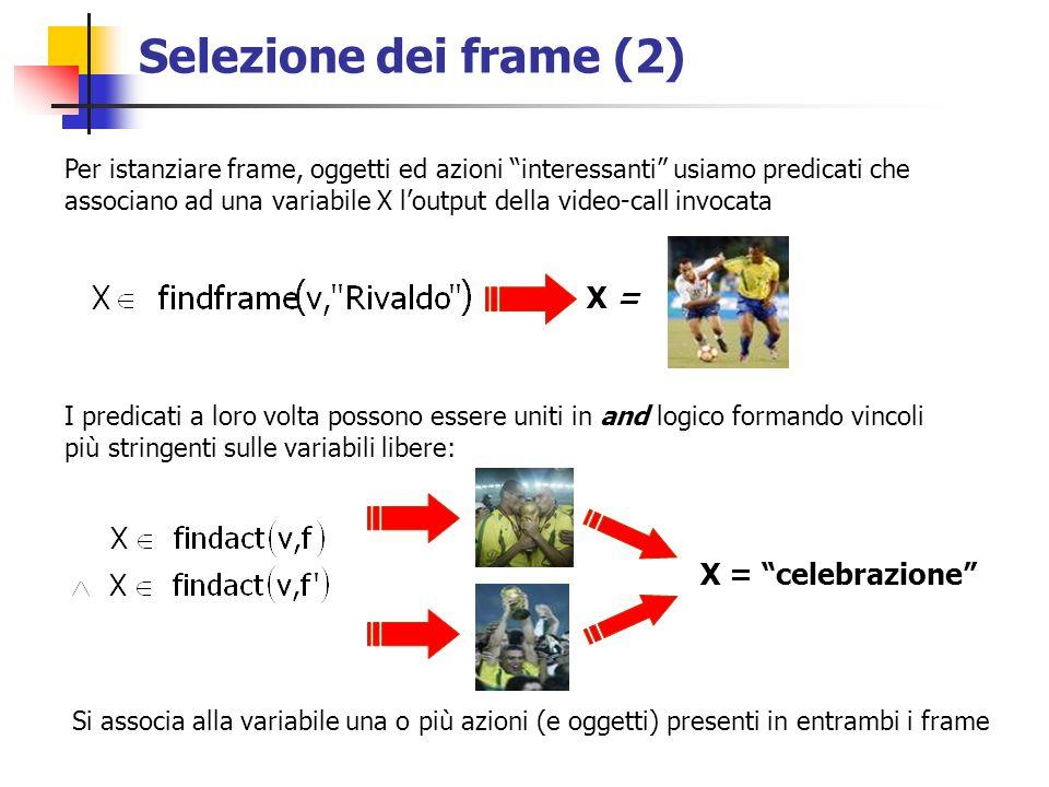 Selezione dei frame (2) I predicati a loro volta possono essere uniti in and logico formando vincoli più stringenti sulle variabili libere: Si associa alla variabile una o più azioni (e oggetti) presenti in entrambi i frame Per istanziare frame, oggetti ed azioni interessanti usiamo predicati che associano ad una variabile X loutput della video-call invocata X = X = celebrazione