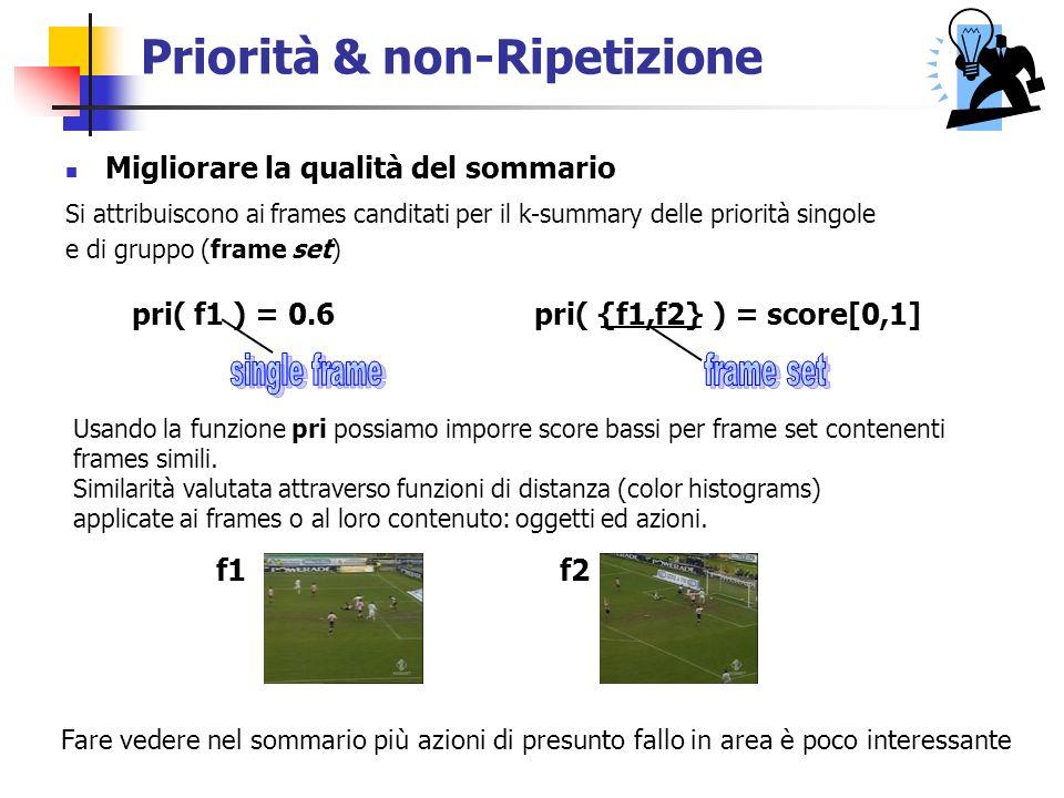 Priorità & non-Ripetizione Si attribuiscono ai frames canditati per il k-summary delle priorità singole e di gruppo (frame set) pri( f1 ) = 0.6 pri( {f1,f2} ) = score[0,1] Usando la funzione pri possiamo imporre score bassi per frame set contenenti frames simili.