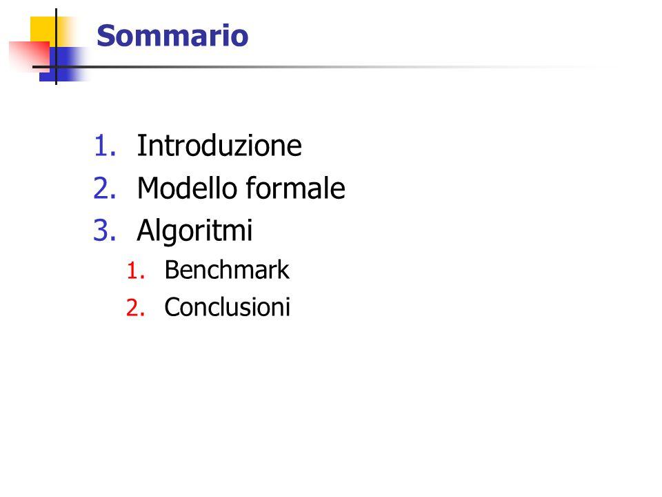 Sommario 1.Introduzione 2.Modello formale 3.Algoritmi 1. Benchmark 2. Conclusioni