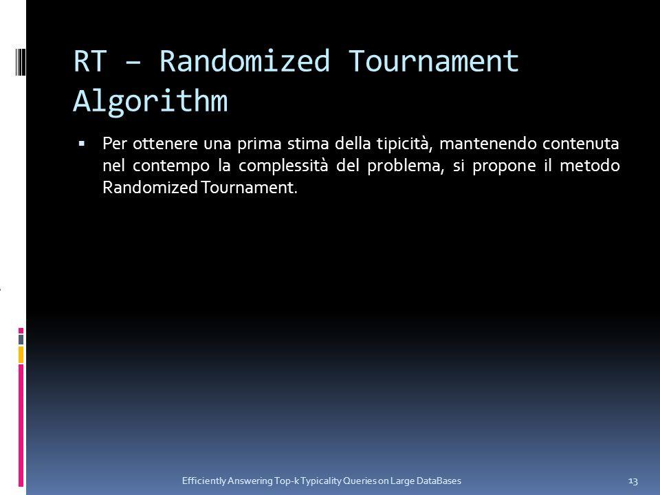 RT – Randomized Tournament Algorithm Per ottenere una prima stima della tipicità, mantenendo contenuta nel contempo la complessità del problema, si propone il metodo Randomized Tournament.