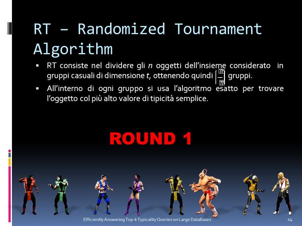 RT – Randomized Tournament Algorithm RT consiste nel dividere gli n oggetti dellinsieme considerato in gruppi casuali di dimensione t, ottenendo quindi gruppi.