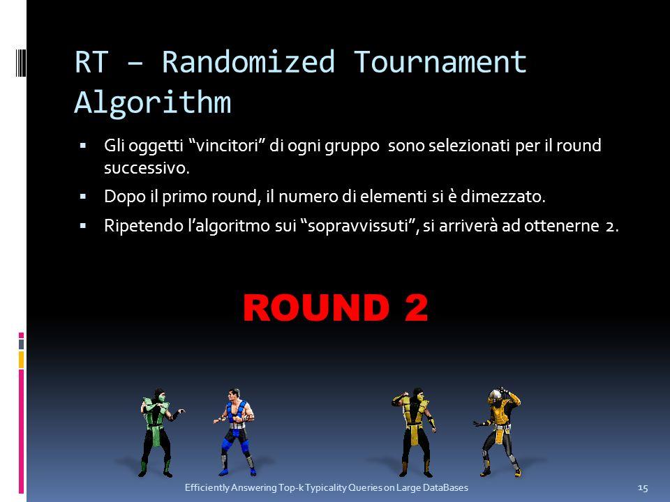 RT – Randomized Tournament Algorithm Gli oggetti vincitori di ogni gruppo sono selezionati per il round successivo. Dopo il primo round, il numero di