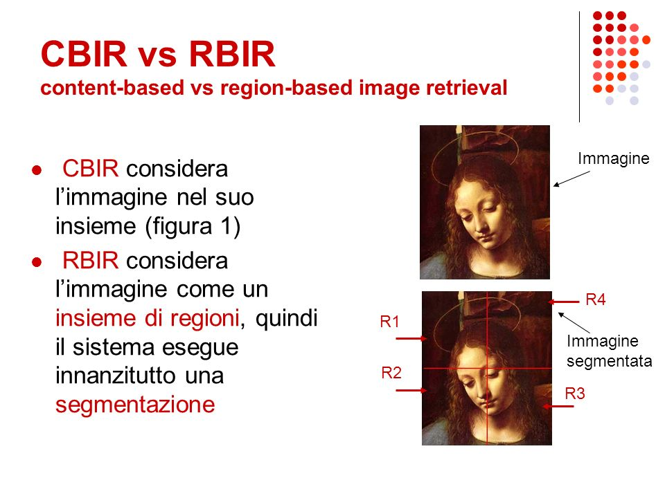 Efficient Region- Based Image Retrieval di Roger Weber e Michael Mlivoncic Swiss Federal Institute of Technology (ETH) Presentazione di Laura Galli, Mauro Sacchetti, Michele Samorani Relatore: Michele Samorani Sistemi Informativi LS a.a 2004-05