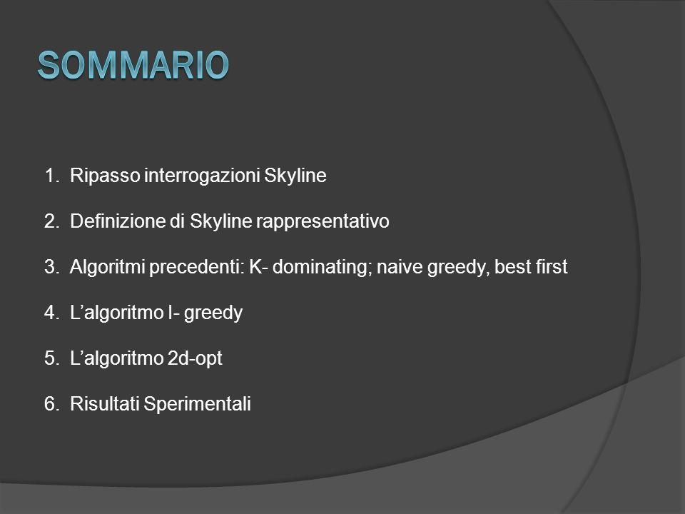 1.Ripasso interrogazioni Skyline 2.Definizione di Skyline rappresentativo 3.Algoritmi precedenti: K- dominating; naive greedy, best first 4.Lalgoritmo I- greedy 5.Lalgoritmo 2d-opt 6.Risultati Sperimentali