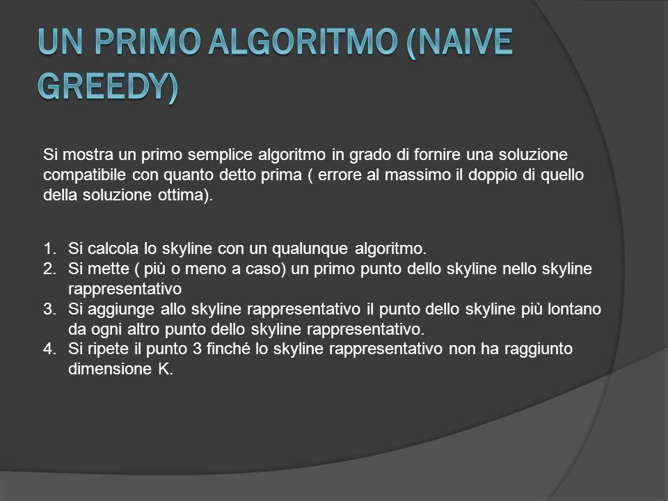 Si mostra un primo semplice algoritmo in grado di fornire una soluzione compatibile con quanto detto prima ( errore al massimo il doppio di quello della soluzione ottima).