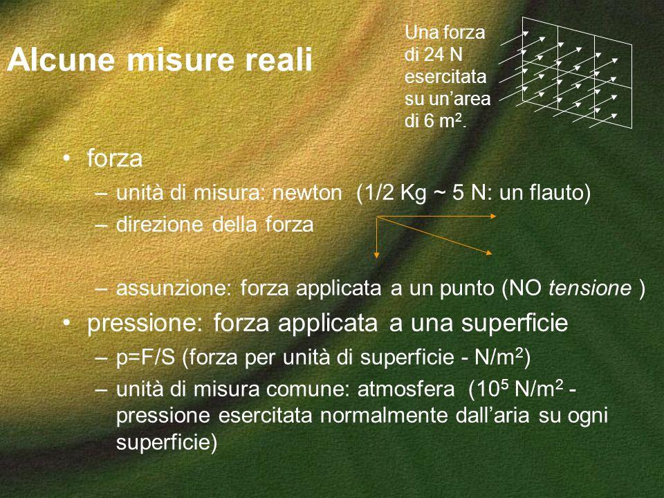 Alcune misure reali forza –unità di misura: newton (1/2 Kg ~ 5 N: un flauto) –direzione della forza –assunzione: forza applicata a un punto (NO tensio