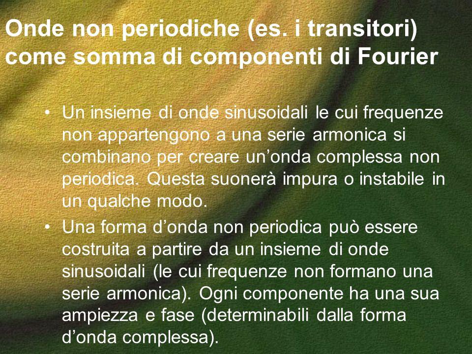 Onde non periodiche (es. i transitori) come somma di componenti di Fourier Un insieme di onde sinusoidali le cui frequenze non appartengono a una seri