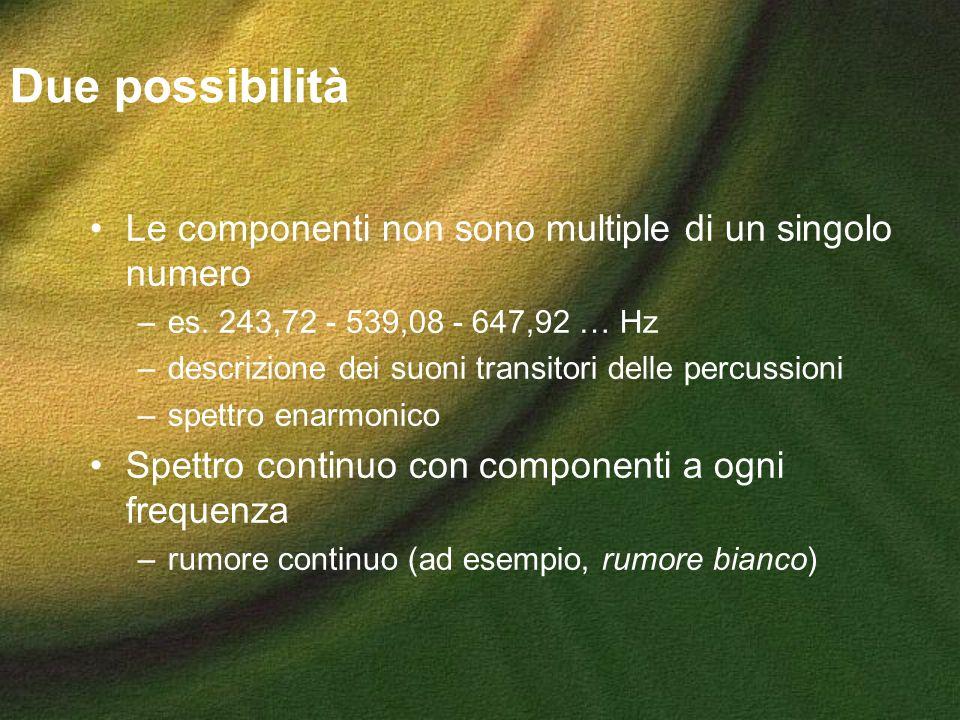 Due possibilità Le componenti non sono multiple di un singolo numero –es. 243,72 - 539,08 - 647,92 … Hz –descrizione dei suoni transitori delle percus
