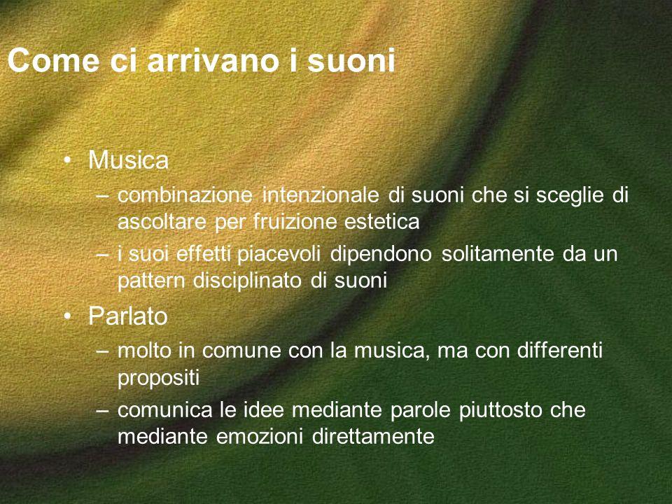 Come ci arrivano i suoni Musica –combinazione intenzionale di suoni che si sceglie di ascoltare per fruizione estetica –i suoi effetti piacevoli dipen