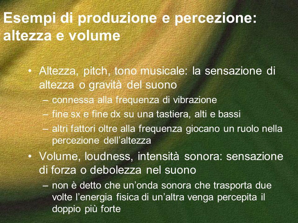 Esempi di produzione e percezione: altezza e volume Altezza, pitch, tono musicale: la sensazione di altezza o gravità del suono –connessa alla frequen