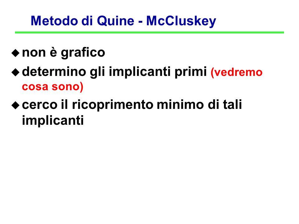 Metodo di Quine - McCluskey non è grafico determino gli implicanti primi (vedremo cosa sono) cerco il ricoprimento minimo di tali implicanti