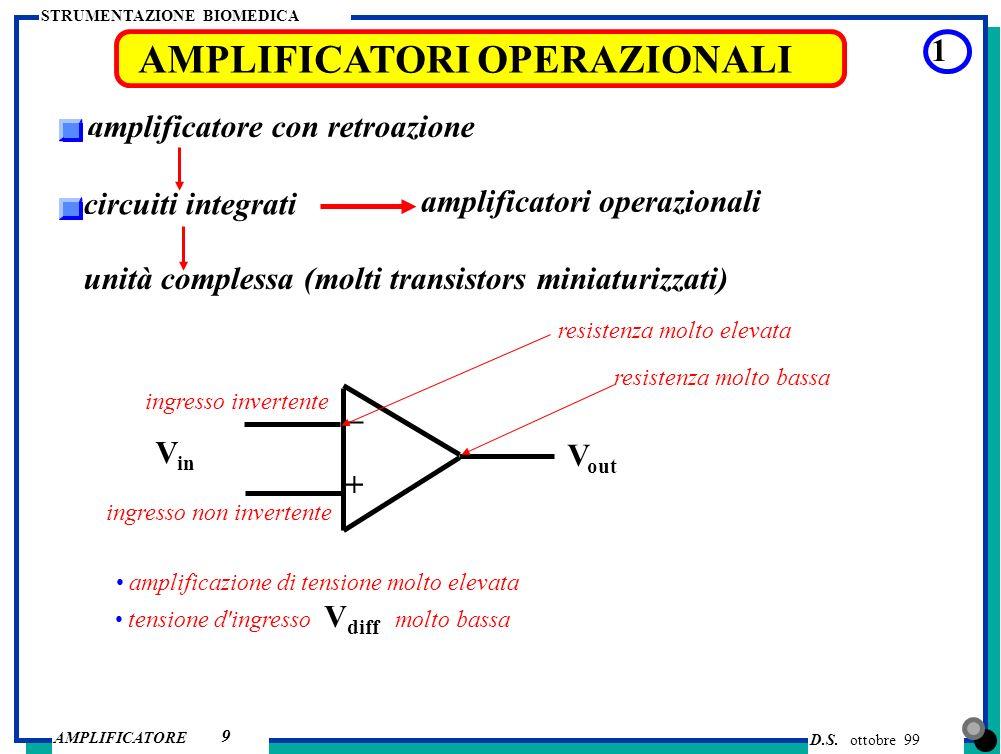 D.S. ottobre 99 AMPLIFICATORE STRUMENTAZIONE BIOMEDICA 9 AMPLIFICATORI OPERAZIONALI 1 amplificatore con retroazione circuiti integrati amplificatori o