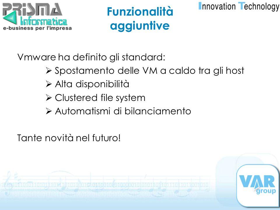 Funzionalità aggiuntive Vmware ha definito gli standard: Spostamento delle VM a caldo tra gli host Alta disponibilità Clustered file system Automatism