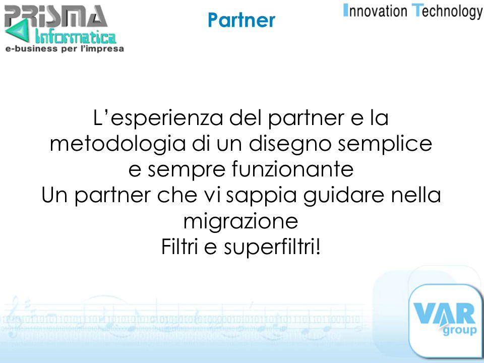 Partner Lesperienza del partner e la metodologia di un disegno semplice e sempre funzionante Un partner che vi sappia guidare nella migrazione Filtri
