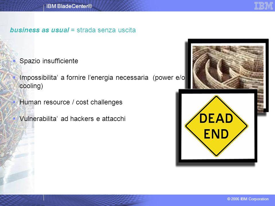 IBM BladeCenter® © 2006 IBM Corporation business as usual = strada senza uscita Spazio insufficiente Impossibilita a fornire lenergia necessaria (powe