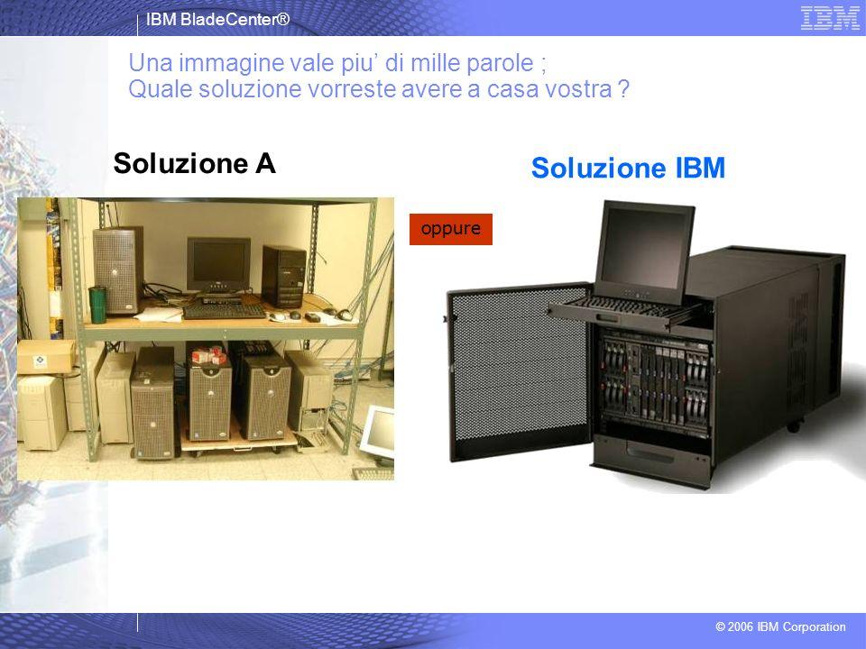 IBM BladeCenter® © 2006 IBM Corporation Una immagine vale piu di mille parole ; Quale soluzione vorreste avere a casa vostra ? oppure Soluzione A Solu