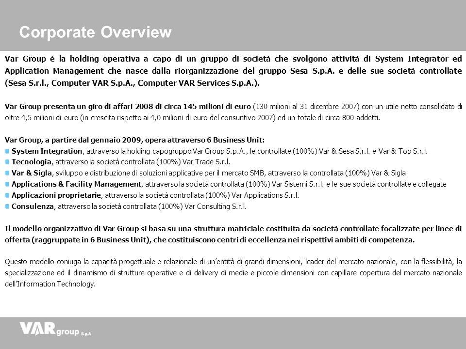 Var Group è la holding operativa a capo di un gruppo di società che svolgono attività di System Integrator ed Application Management che nasce dalla r