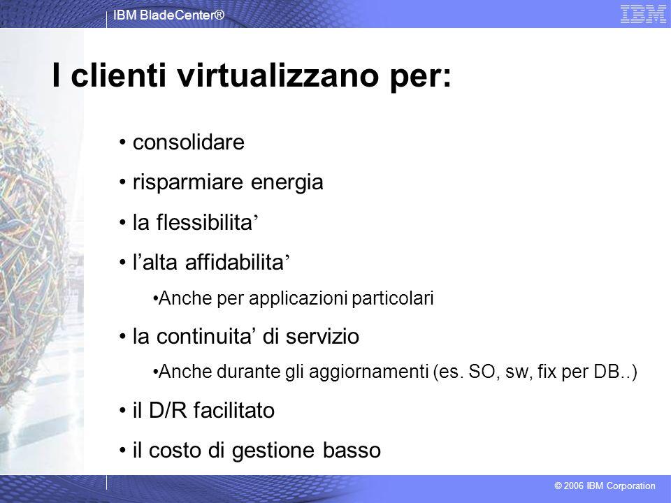 IBM BladeCenter® © 2006 IBM Corporation I clienti virtualizzano per: consolidare risparmiare energia la flessibilita lalta affidabilita Anche per appl