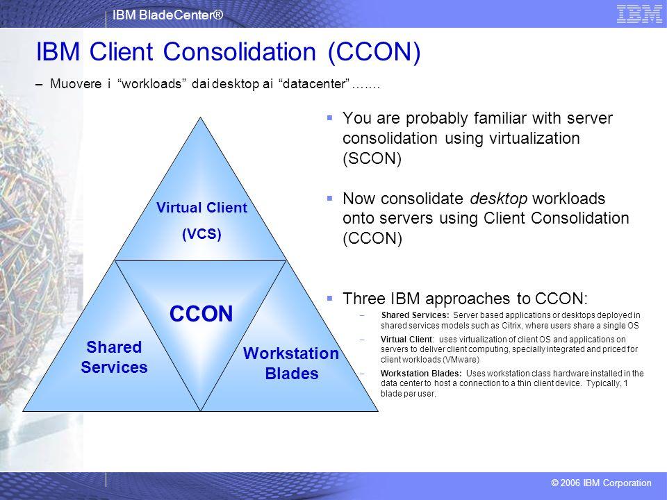 IBM BladeCenter® © 2006 IBM Corporation IBM Client Consolidation (CCON) – Muovere i workloads dai desktop ai datacenter ….… You are probably familiar