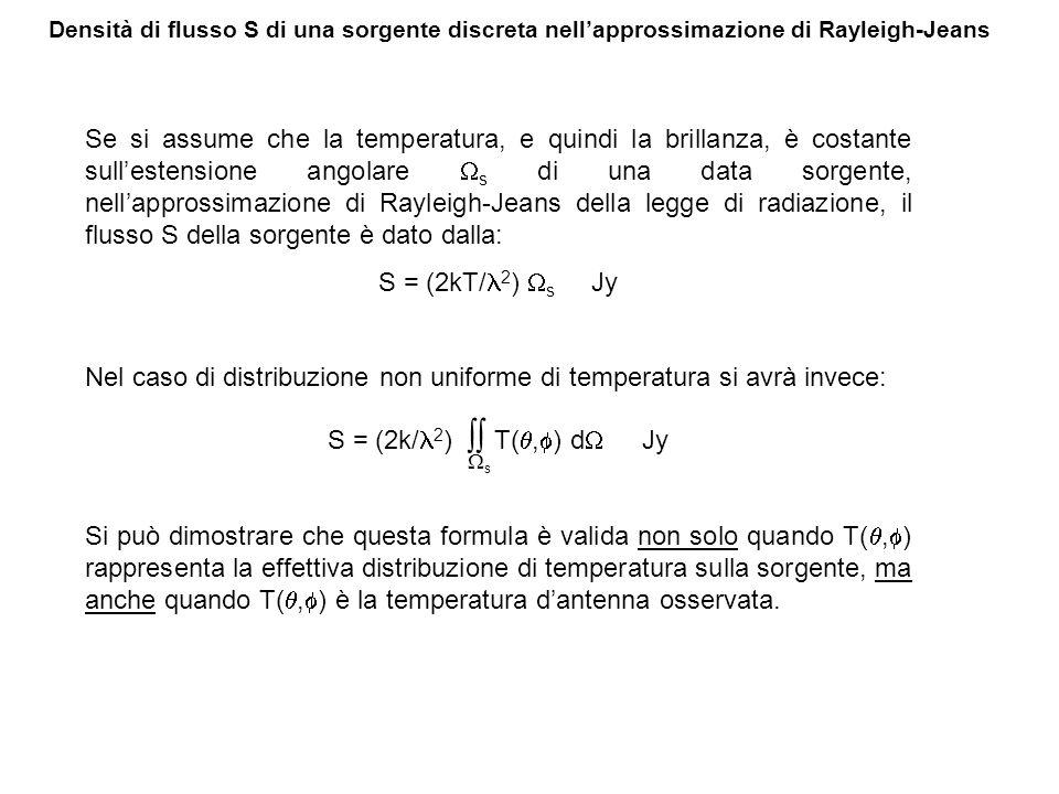 Densità di flusso S di una sorgente discreta nellapprossimazione di Rayleigh-Jeans Se si assume che la temperatura, e quindi la brillanza, è costante