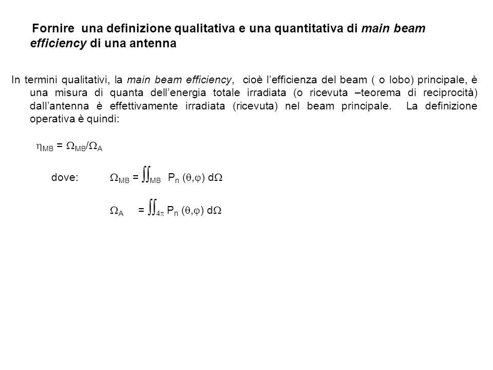 Fornire una definizione qualitativa e una quantitativa di main beam efficiency di una antenna In termini qualitativi, la main beam efficiency, cioè le