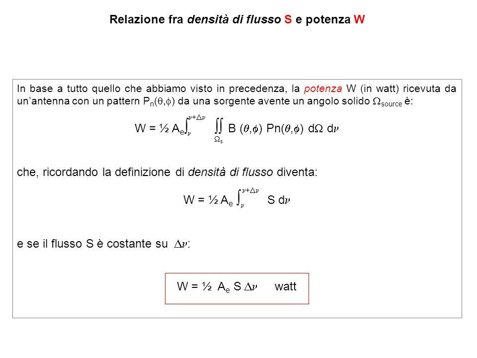 Relazione fra densità di flusso S e potenza W In base a tutto quello che abbiamo visto in precedenza, la potenza W (in watt) ricevuta da unantenna con