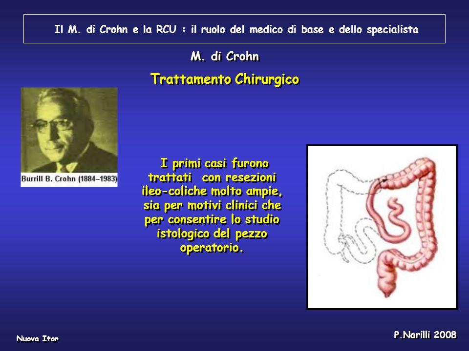 Il M. di Crohn e la RCU : il ruolo del medico di base e dello specialista Nuova Itor P.Narilli 2008 I primi casi furono trattati con resezioni ileo-co