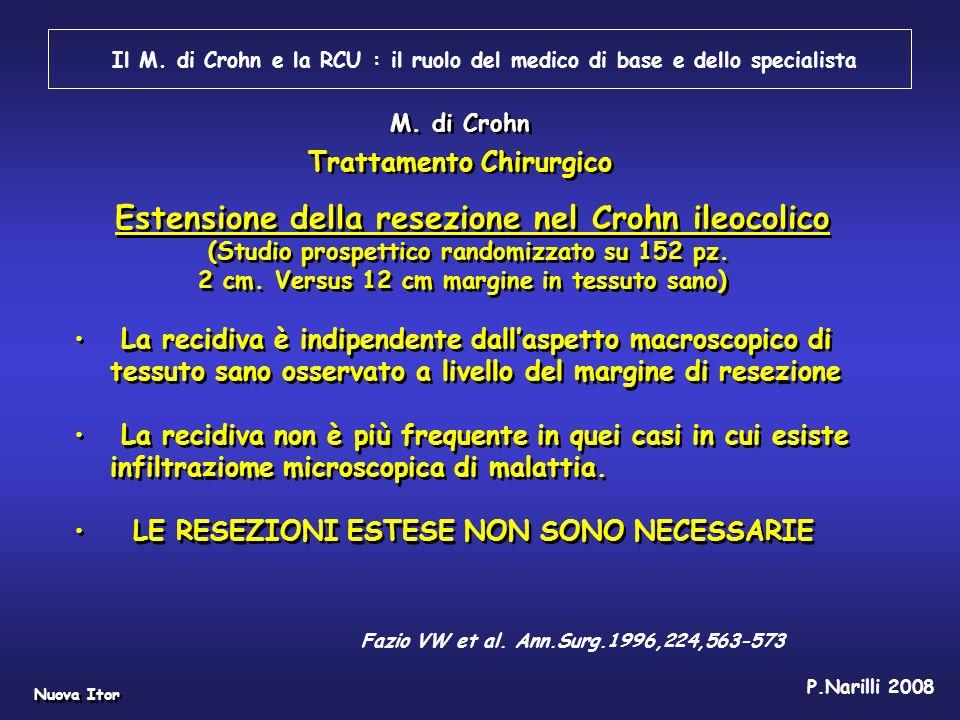 Il M. di Crohn e la RCU : il ruolo del medico di base e dello specialista Nuova Itor P.Narilli 2008 Estensione della resezione nel Crohn ileocolico (S