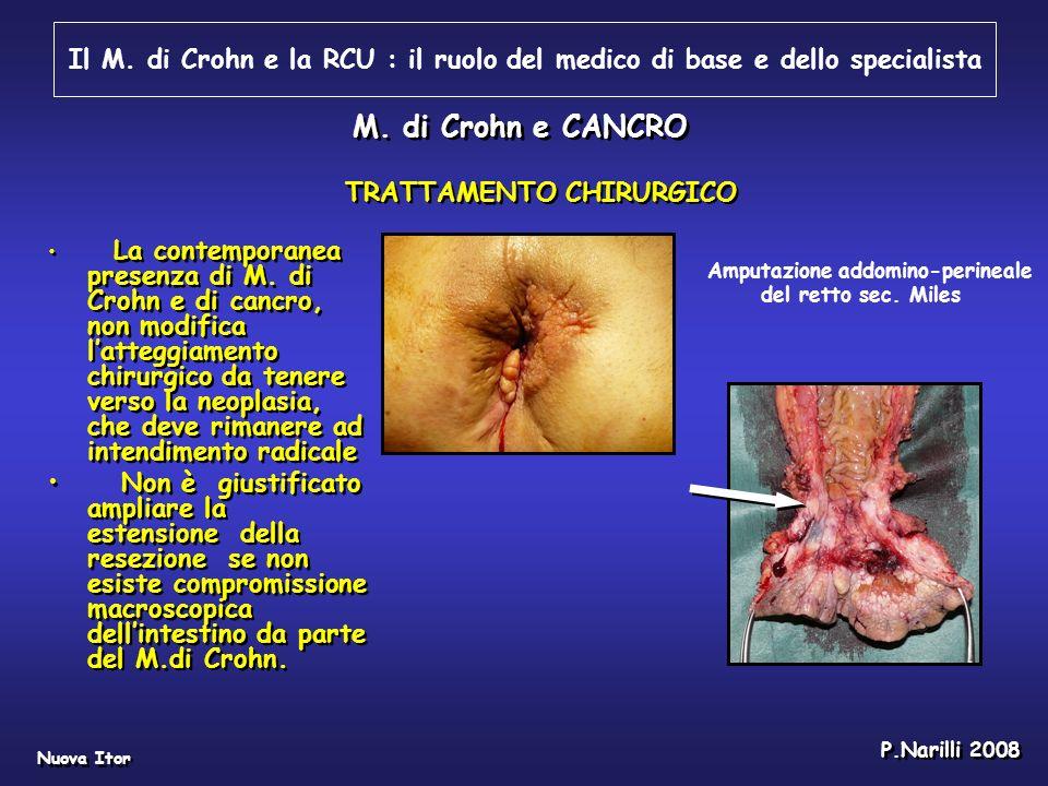 Il M. di Crohn e la RCU : il ruolo del medico di base e dello specialista Nuova Itor P.Narilli 2008 M. di Crohn e CANCRO La contemporanea presenza di