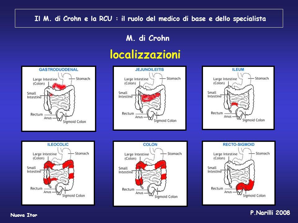 Il M. di Crohn e la RCU : il ruolo del medico di base e dello specialista Nuova Itor P.Narilli 2008 localizzazioni M. di Crohn