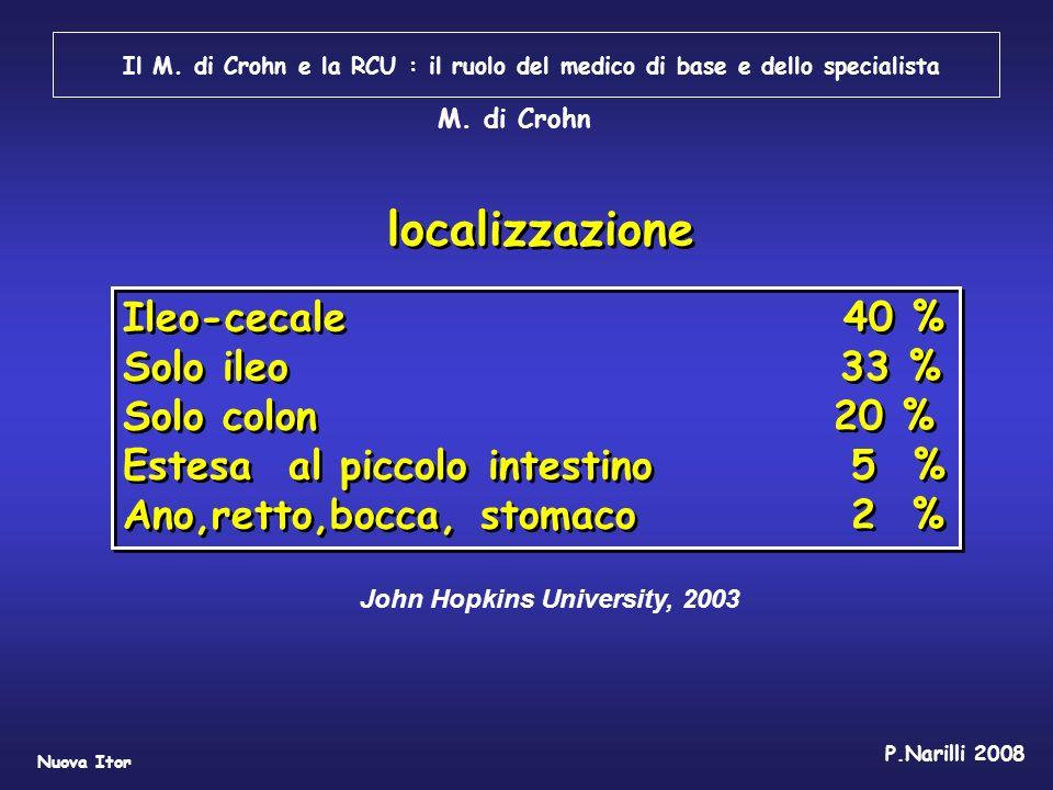 Il M. di Crohn e la RCU : il ruolo del medico di base e dello specialista Nuova Itor P.Narilli 2008 John Hopkins University, 2003 localizzazione Ileo-