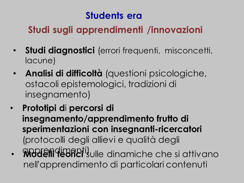 Studi sugli apprendimenti /innovazioni Studi diagnostici ( errori frequenti, misconcetti, lacune) Students era Analisi di difficoltà (questioni psicol