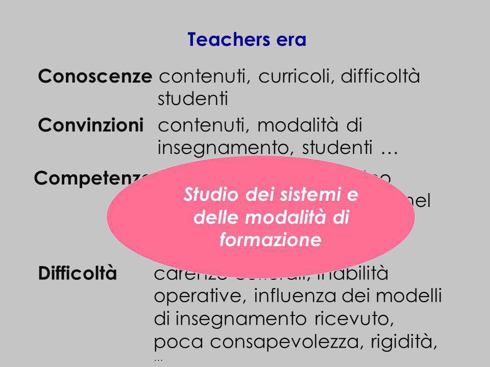 Teachers era Conoscenze contenuti, curricoli, difficoltà studenti Convinzioni contenuti, modalità di insegnamento, studenti … Competenze matematiche e